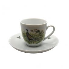 Espresso kavos puodelis su lėkštute su fazano atvaizdu