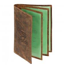 Natūralios odos dokumentų dėklas Akah su elnio atvaizdu