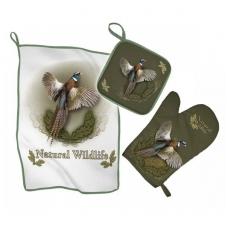 Virtuvės rankšluosčių komplektas 3-jų dalių su fazano atvaizdu Wildzone